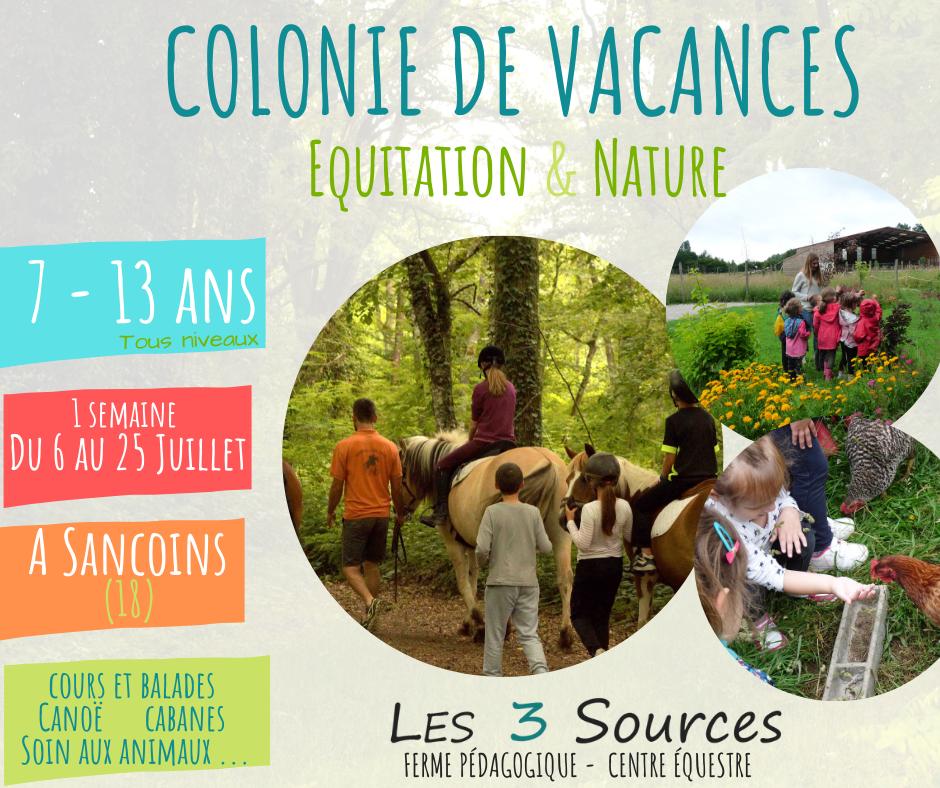 Colonie de vacances Nature et Equitation 3sources Ferme pédagogique Sancoins